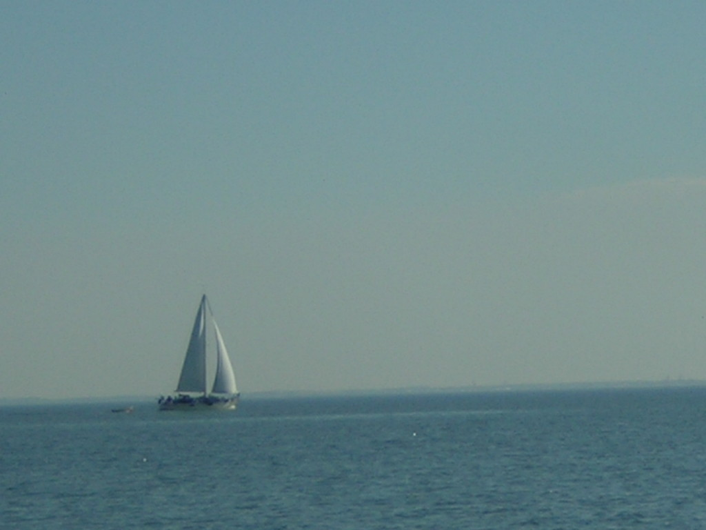 Sailboat in Chesapeake Bay just outside Hampton Roads