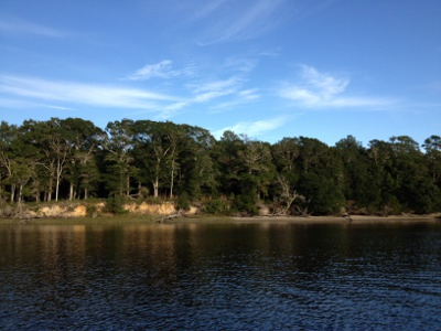 Our private, secluded anchorage on the Calabash River, South of the Border.